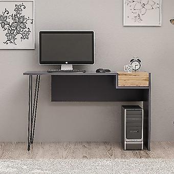 Candy Walnut Color Desk, Melamine Chipboard Anthracite, MDF, L121xP45xA76 cm