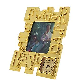 GTP To The Best Dad/Father Photo Frame Goldtone Plated on Alloy Novelty Desktop Collectors Miniature Clock IMP417G