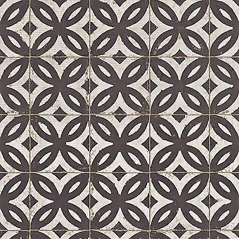 Rasch Black White Tile Fond d'écran