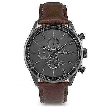Vincero Gra-bro-s21 The Chrono S Grey & Brown Leather Men's Watch
