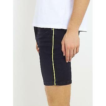 Neon Yellow Cord Seam Detail Skinny Denim Shorts