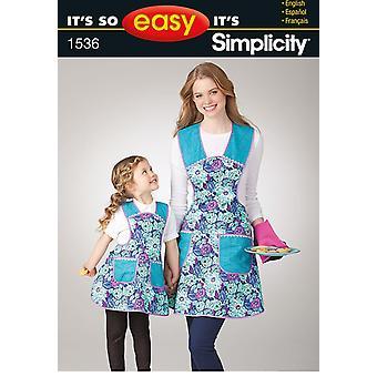 Yksinkertaisuus ompelu kuvio 1536 Se on niin helppoa Lapset kaipaa esiliinan koot S-L / S-L
