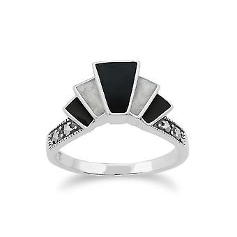 Gemondo 925 Sterling Silver Art Deco svart och vit emalj & Markasit Ring