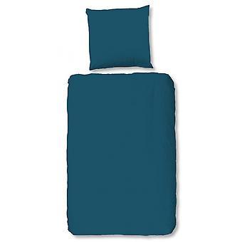 duvet cover 135 x 200 cm cotton/satin petrol blue