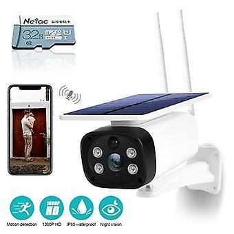 DC12 HD Solar Wifi Kamera 1080PWireless Minitor Plug-in Free IP65 Nachtsicht Echtzeit Voice Intercom Bewegungserkennung Alarm