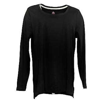 Isaac Mizrahi Live! Women's Top Pima Cotton Hi-Low Hem Knit Black A451663