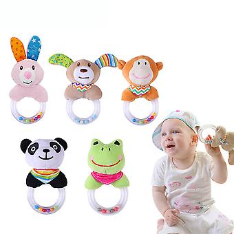 5pcs Bear Rabbit Frog Monkey Panda Rattle Toys With Sound Ring Plush Baby Hanging Toys Colorful Rattling Doll For Infant