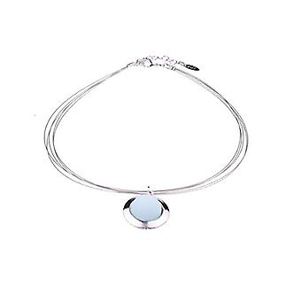 Adi - Trendy collar 'Hanni', 14 mm, with original Polaris pearl in a silver-plated ring on a simple collar, Ref. 4251188647051