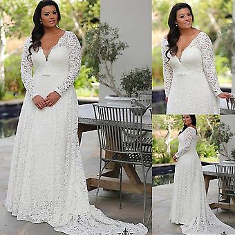 فستان زفاف بأكمام الدانتيل