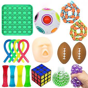 Sensory Fidget Toys Bundle Dna Stress Relief Balls With Flip Reversible Plush octopus Fidget Hand Toys Push Pop Bubble Stress Reliever Unzip Ball