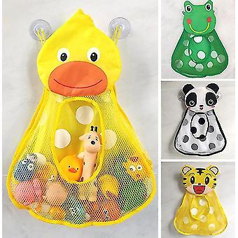 Baby Bad Legetøj Cute Duck Frog Mesh Net Legetøjspose Stærk Suge Cups Bad Game Bag Badeværelse Organizer Vand Legetøj til Kids