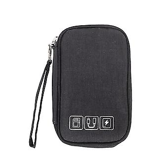 Black cable organizer bag electronic accessories storage case for usb and charger cai800