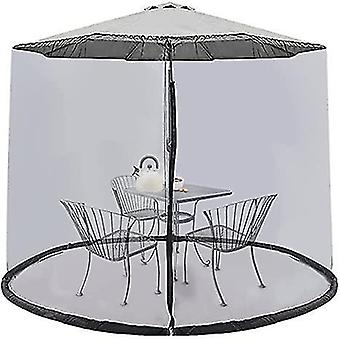 9Ft umbrella mosquito netting screen cover with zipper polyester mesh for patio x7938