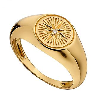 Alkujen keltainen kullattu timantti leikattu muotoilu signetti Zirconia Rengas R3775C