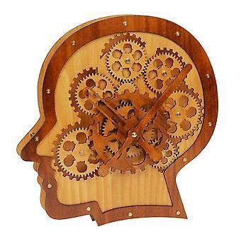HOMETIME נע ברגים עץ ראש בצורת שעון