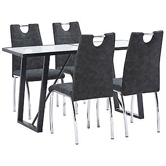 vidaXL 5 pcs. Dining group black leatherette