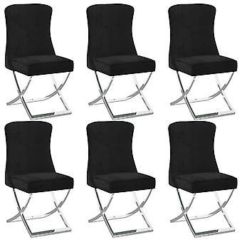 vidaXL Dining Chairs 6 pcs. Black 53x52x98 cm Velvet