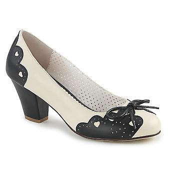 Pin Women's Shoes Up Blk-Cream Faux Leather