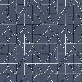 Rasch Symmetrie Blauw Zilver Behang 310108