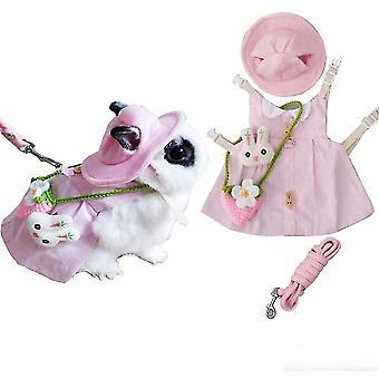 Lemmikki kani mekko, söpöt pienet eläimet pupu pääsiäispuku sunhat mini (vaaleanpunainen)