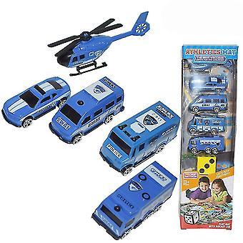 6pcsミニパトカーおもちゃ子供の教育玩おもちゃブルー