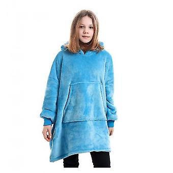 Blanket Pullover Children Can Wear Hooded Blanket Pockets(Blue1)