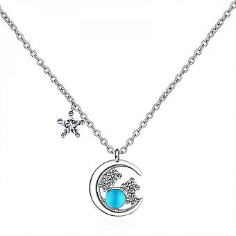 Star Moon Pendant Necklace For Women, Blue Crystal Clavicle Chain, Trendy, Party Jewelry, Girls Gift