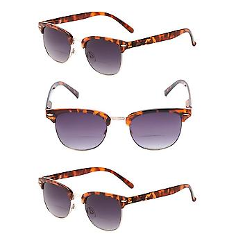 """The Executive"" 3 Pair of Classic Semi-Rimless Bifocal Reading Sunglasses - Tortoise - 2.00"