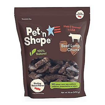 Pet 'n Shape Natural Beef Lung Chunx Dog Treats - Sizzling Bacon Flavor - 1 lb Bag