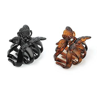 Shiny Black / Tort Brown Colour Butterfly Design Hair Clip Claw Clamp 7.5cm