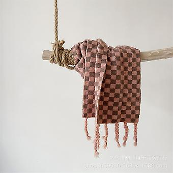 Personalized Checkerboard Tassel Knitted Scarf For Children