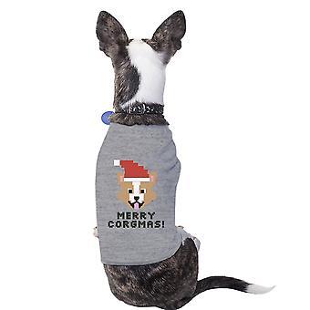 ميلاد سعيد كورجماس فصيل كورجي قميص الحيوانات الأليفة القطن الرمادي صاحب الكلب هدية عيد الميلاد