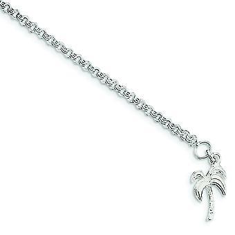 925 sterling sølv solid poleret palme træ Ankelkæde-fjeder ring-længde: 9 til 10