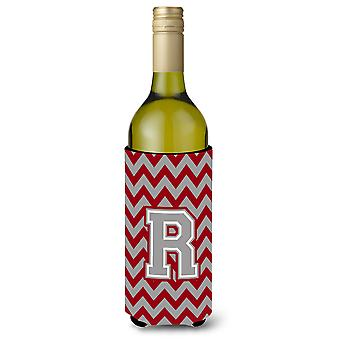 Letter R Chevron Crimson and Grey   Wine Bottle Beverage Insulator Hugger
