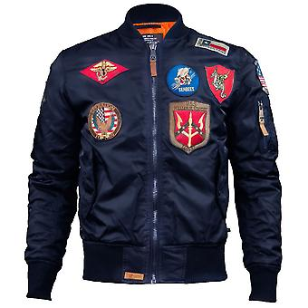 Top Gun MA 1 Nylon Bomber Jacket with Patches Navy