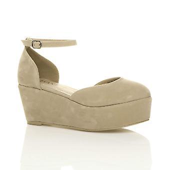 Ajvani kvinners midt lav kile flatform plattform ankelen stroppen retten sko sandaler