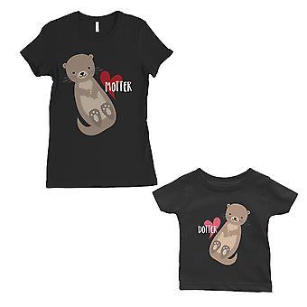 Motter Dotter äiti ja vauva Matching Gift paidat musta