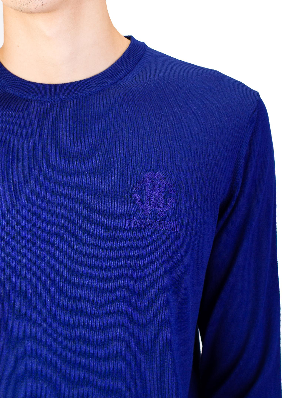 Roberto Cavalli Men's Crew Neck Wool Sweater Blue