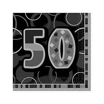 Geburtstag Glanz Schwarz & Silber 50. Geburtstag - Lunch Servietten