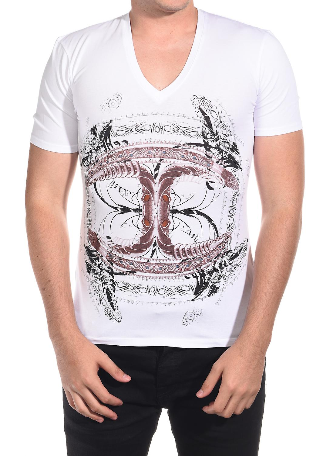 Just Cavalli Men's Classic Fit Jersey Tee T-Shirt Cultured V-Neck White