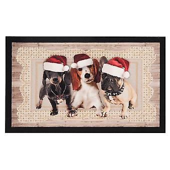 Doormat dirt trapping pad Christmas dogs Christmas dogs II Brown 45 x 75 cm