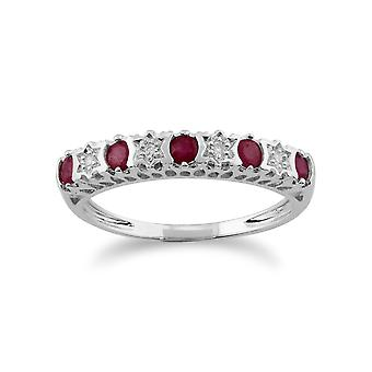 9ct White Gold 0.31ct Natural Ruby & 2pt Diamond Half Eternity Band Ring