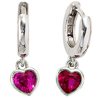 Children's silver hoop earrings heart 925 sterling silver 2 cubic zirconia red earrings, kids earrings