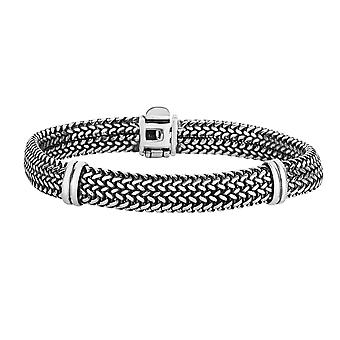 Sterling Silver With Oxidized Finish Domed Woven Mens Bracelet, 7.25""
