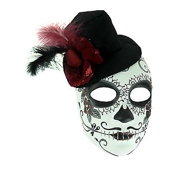 Mens Adult Sugar Skull Costume Mask with Top Hat Rose and Feathers
