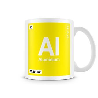 Научные печатные кружка, показывая элемент символ 013 Аль - алюминий