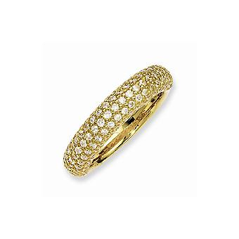 925 Sterling Silver Pave Polished Prong set 14k Gold Plated With CZ Cubic Zirconia Simulated Diamond Ring Jewelry Gifts