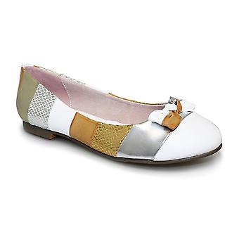 Ladies Multicolour Stripe Bow Front Low Heel Womens Slip On Comfy Flats Shoes