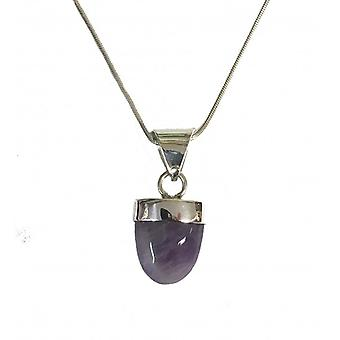 Cavendish French Silver and Amethyst Popsicle Pendant with Silver Chain