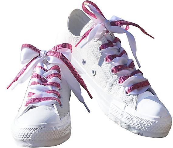 Pink Glitter and White Satin Lace Set Laces